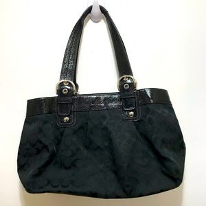 Coach tote shoulder bag black canvass leather trim